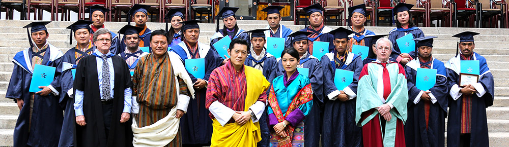 His Majesty the Druk Gyalpo and Her Majesty the Gyaltsuen with First alumni graduating MM & MPA